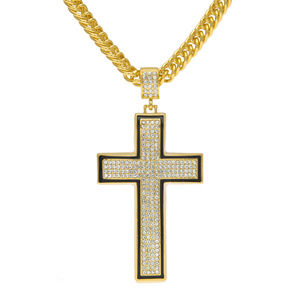 Big Crystal Cross Gold Plated Pendant Necklace 268